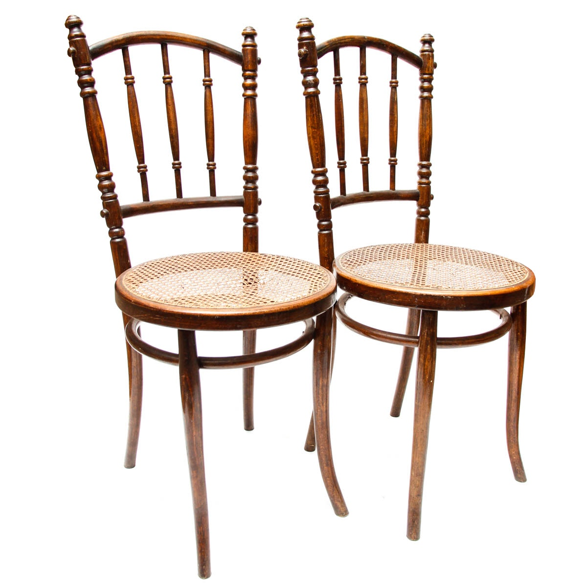 Early 20th Century Chairs With Cane Seats in Walnut Finish