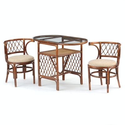 Glass-Top Rattan Table with Chairs