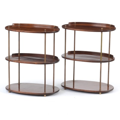 Pair of Solid Mahogany Tiered Oval Tables