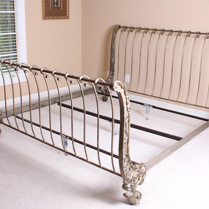 ornate metal sleigh bed frame ebth. Black Bedroom Furniture Sets. Home Design Ideas