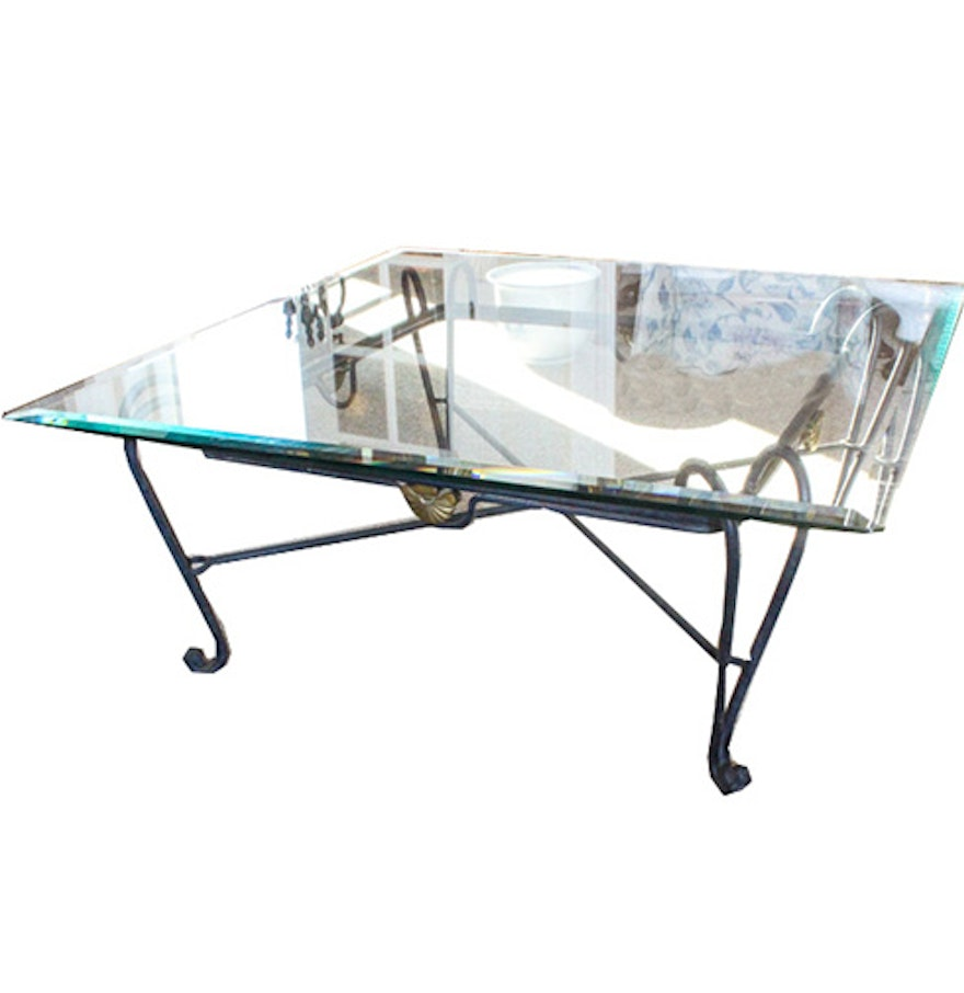 Scrolled metal and wood coffee table - Contemporary Scrolled Metal Coffee Table With Glass Top