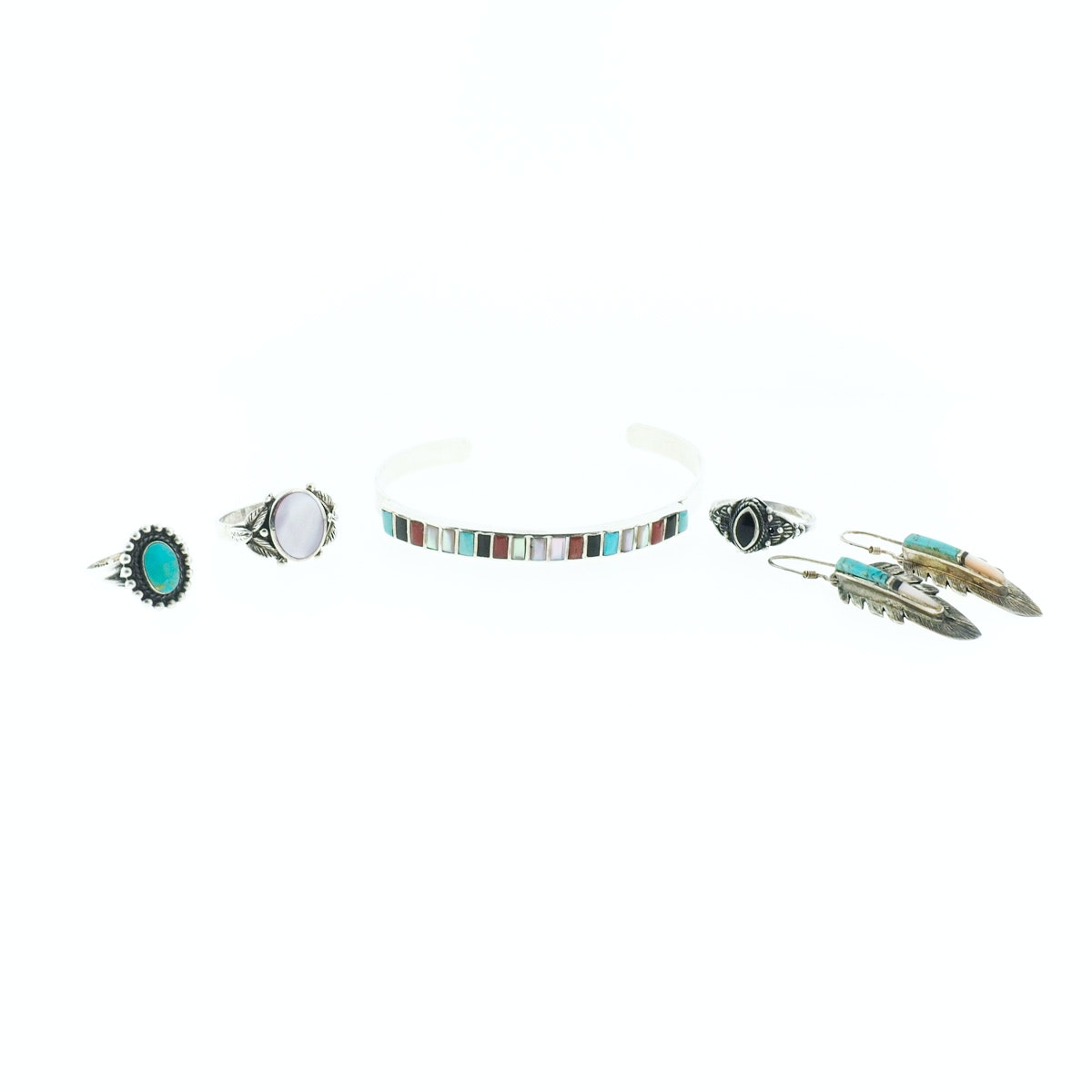 Sterling Silver with Turquoise, Mother of Pearl, and Onyx Jewelry Collection