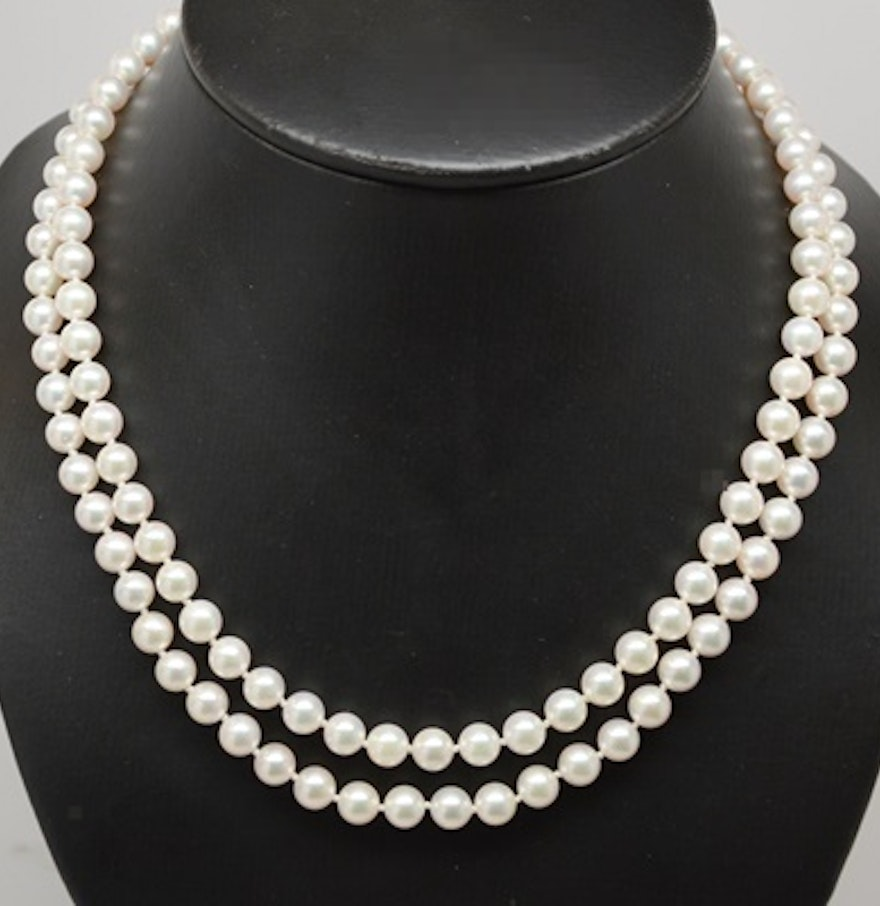 Double Strand Cultured Pearl Necklace With 14k White Gold Clasp