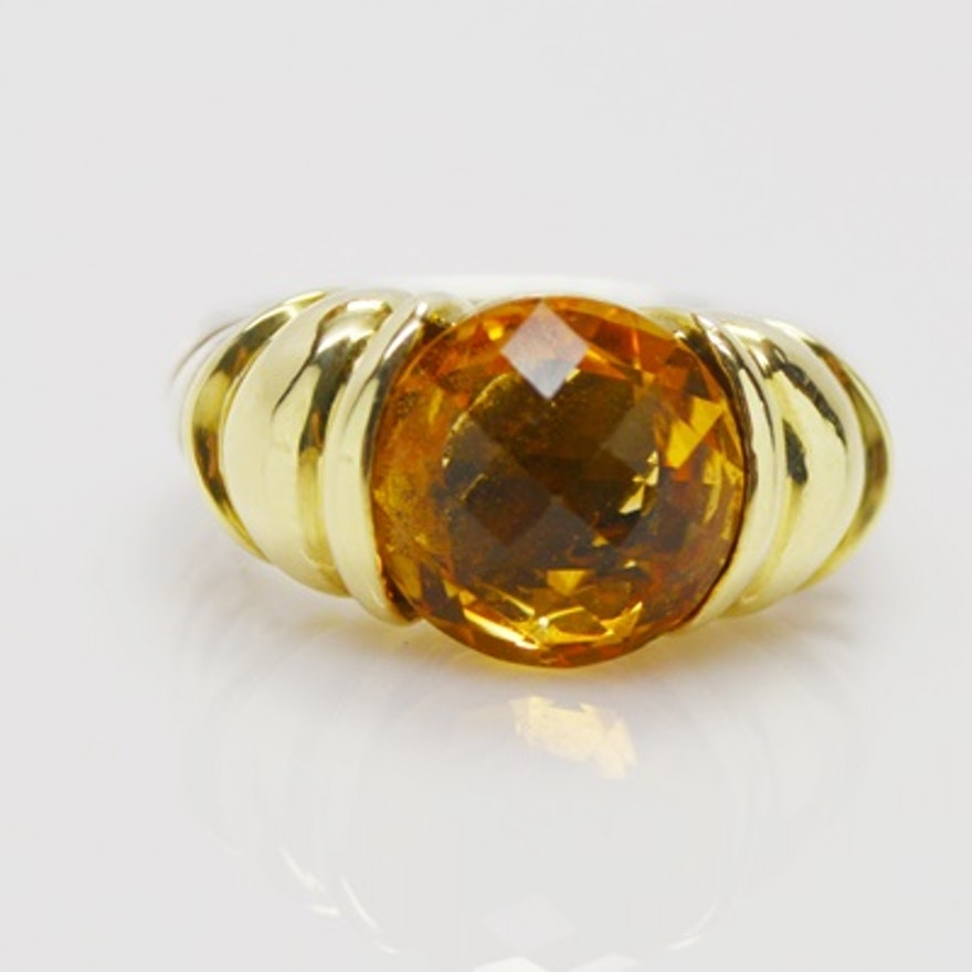 fdcb2e5b45843 David Yurman Sterling Silver and 14K Yellow Gold Citrine Ring