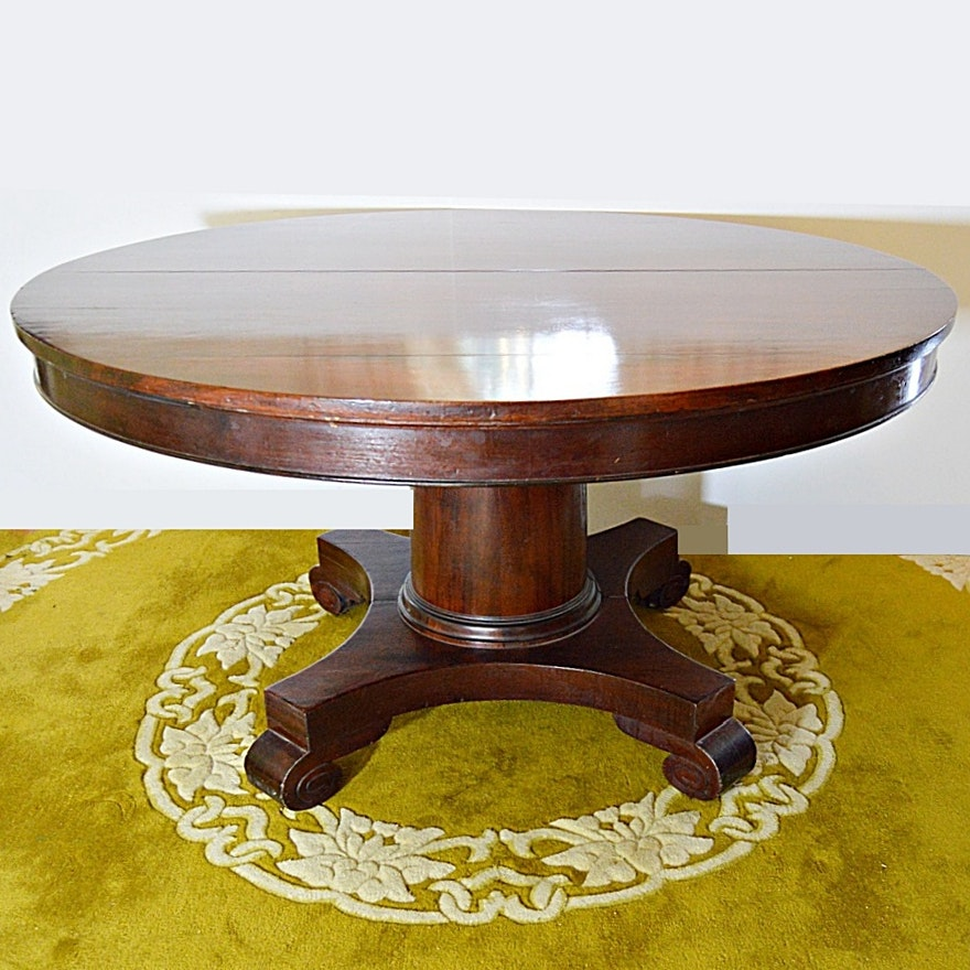 Antique Empire Mahogany Round Pedestal Dining Table EBTH
