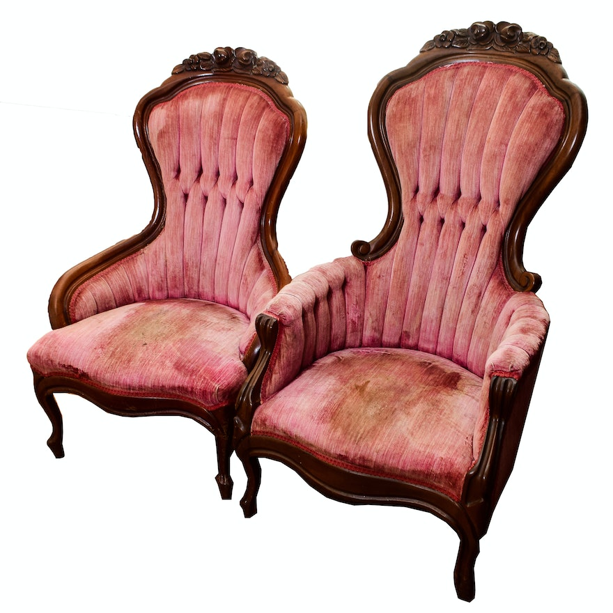 His And Hers Victorian Parlor Chairs ... - His And Hers Victorian Parlor Chairs : EBTH