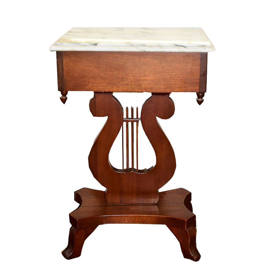 Marble Top Lyre Coffee Table: Vintage Duncan Phyfe Style Walnut Lyre Table With Marble