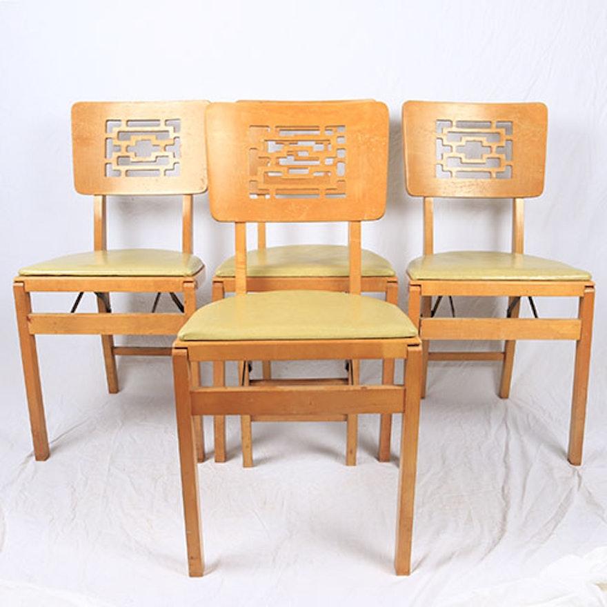 Mid Century Modern Stakmore Folding Chairs Ebth