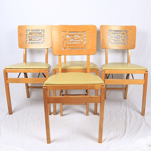 Mid Century Modern Stakmore Folding Chairs ...