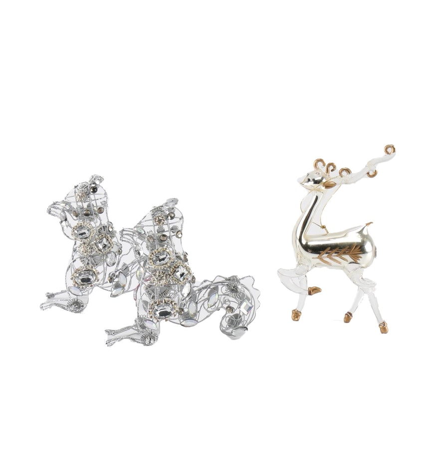 Animal ornaments - Silver And Gold Tone Animal Ornaments