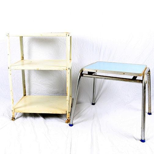 Vintage Metal Table And Bar Cart