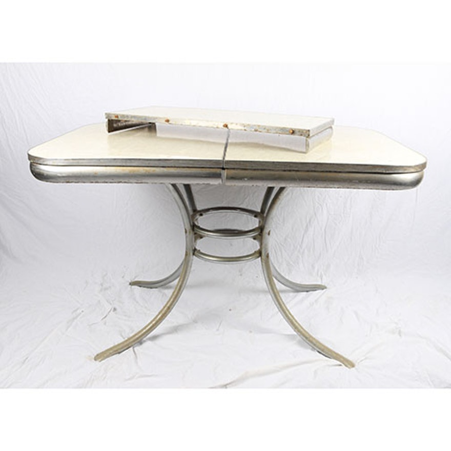 mid century modern white kitchen table | ebth