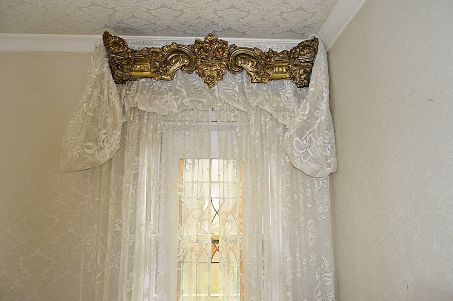Rococo Style Embossed Brass Window Cornices, Lace Curtains