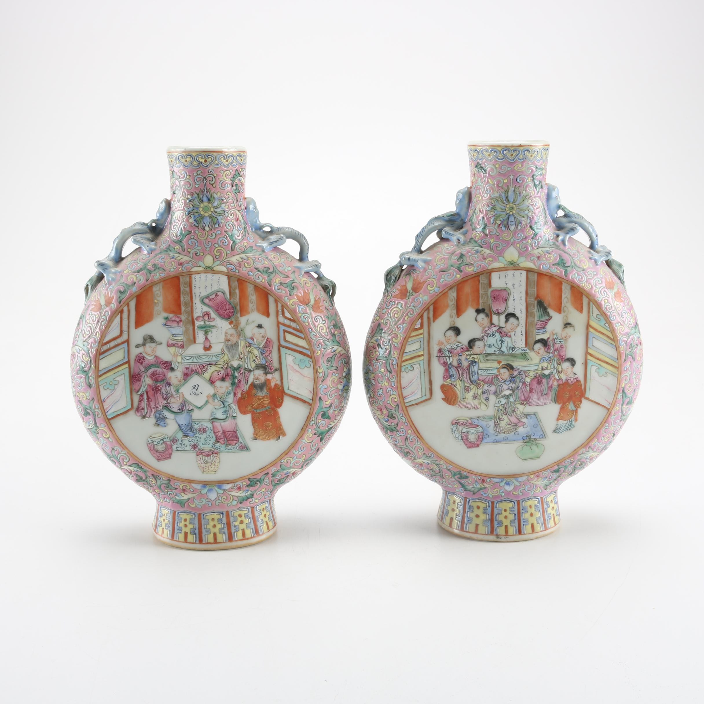 19th Century Chinese Ceramic Famille Rose Moon Flasks