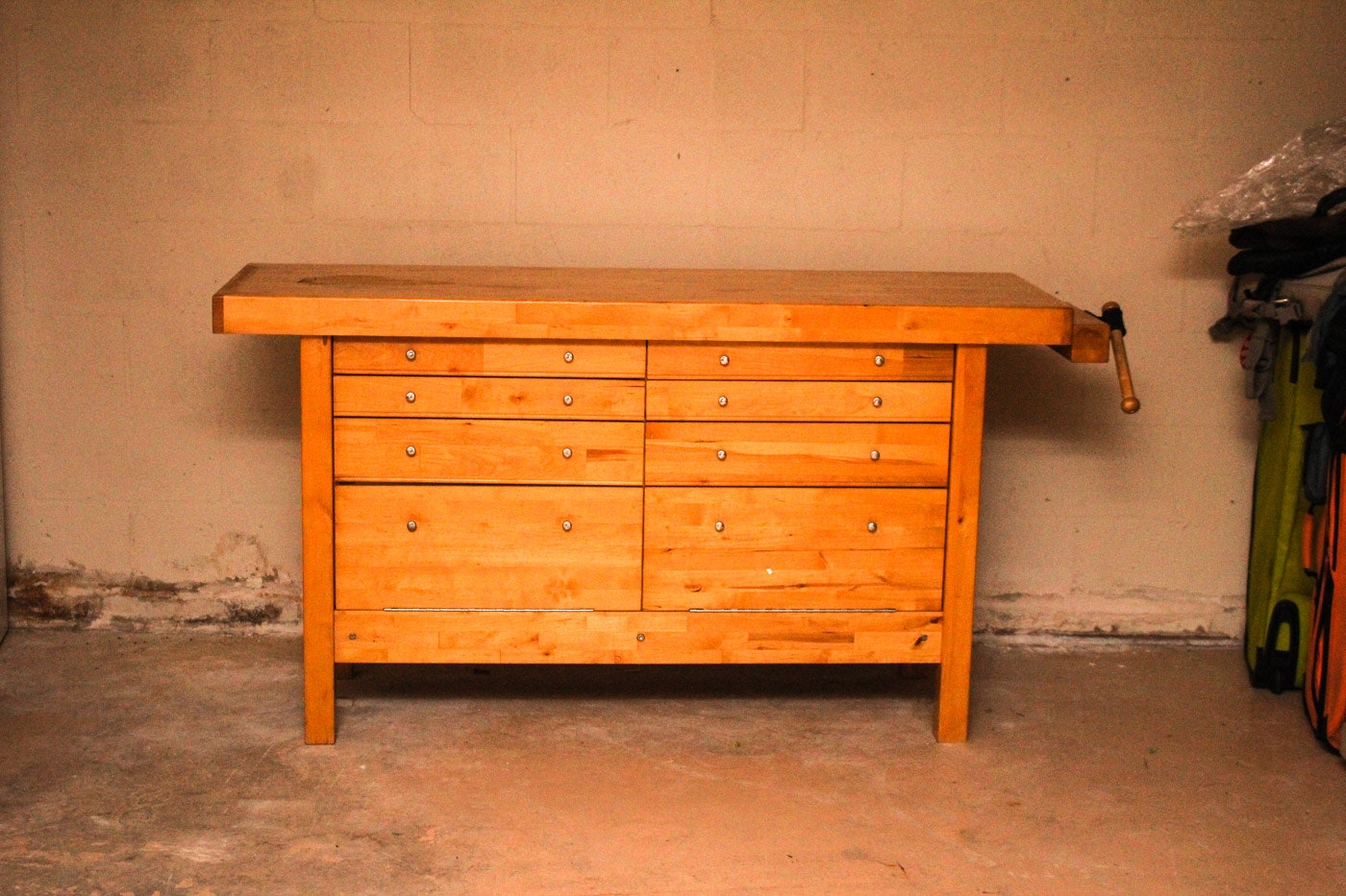 Contemporary Pine Butcher Block Work Bench ...