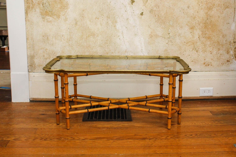 Baker Furniture Glass U0026 Bamboo Coffee Table ...