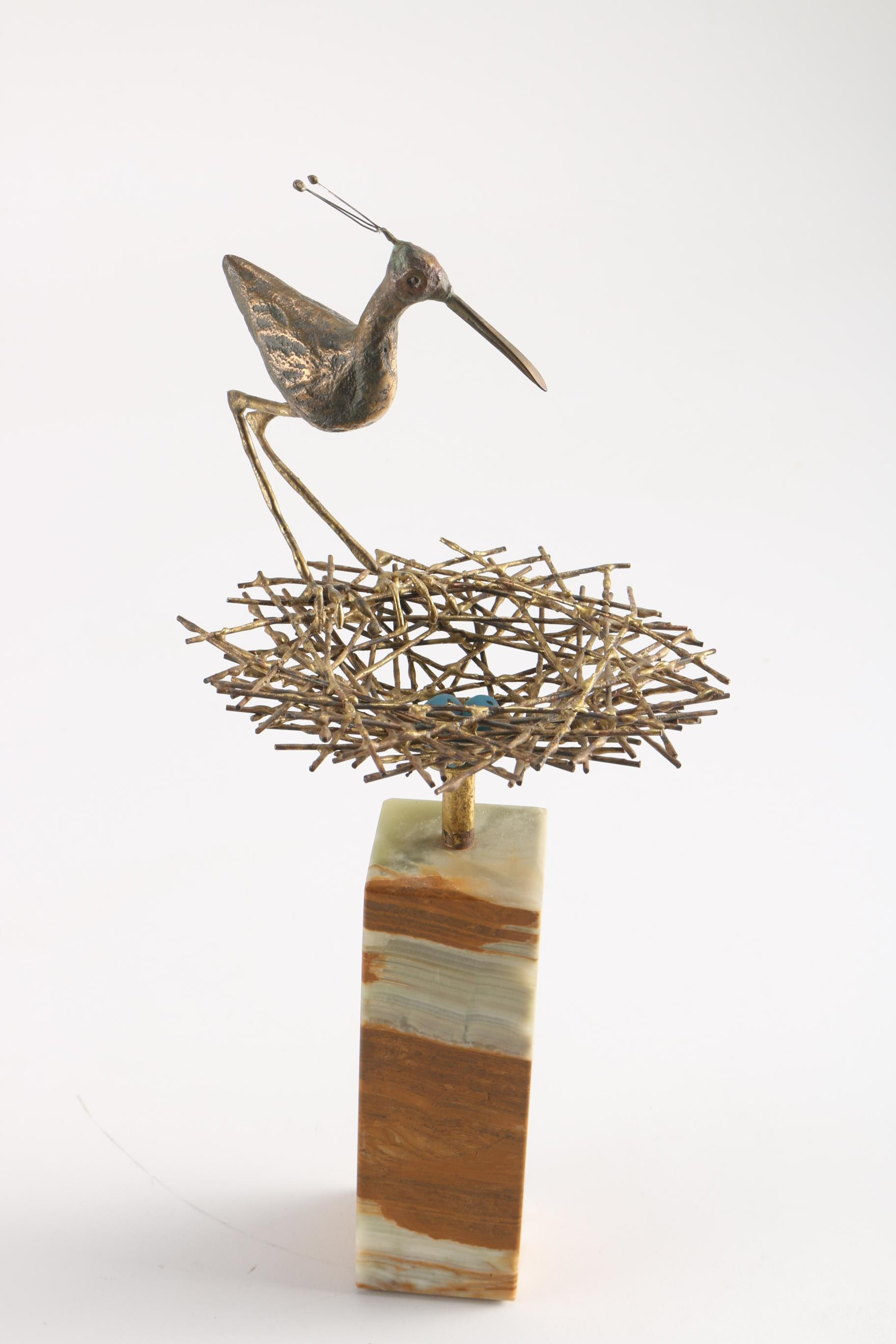 """Agate and Bronze """"Heron with Nest"""" Statue"""