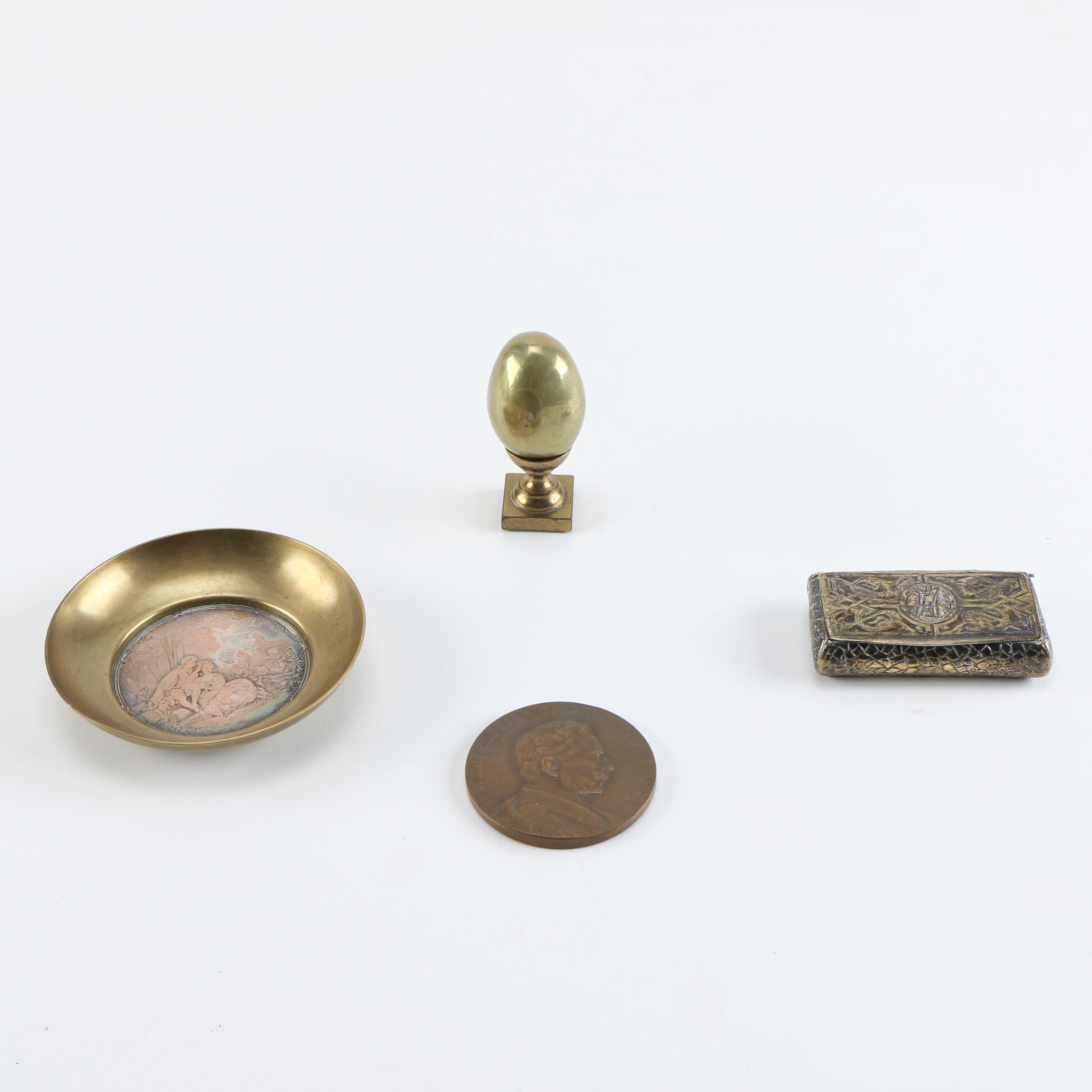 Vintage Decorative Objects With Antique Snuff Box