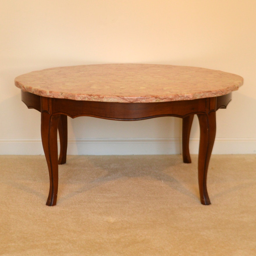 Vintage French Provincial Style Coffee Table With Pink Marble Top