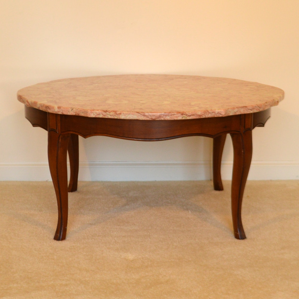 Vintage French Provincial Style Coffee Table With Pink Marble Top ...