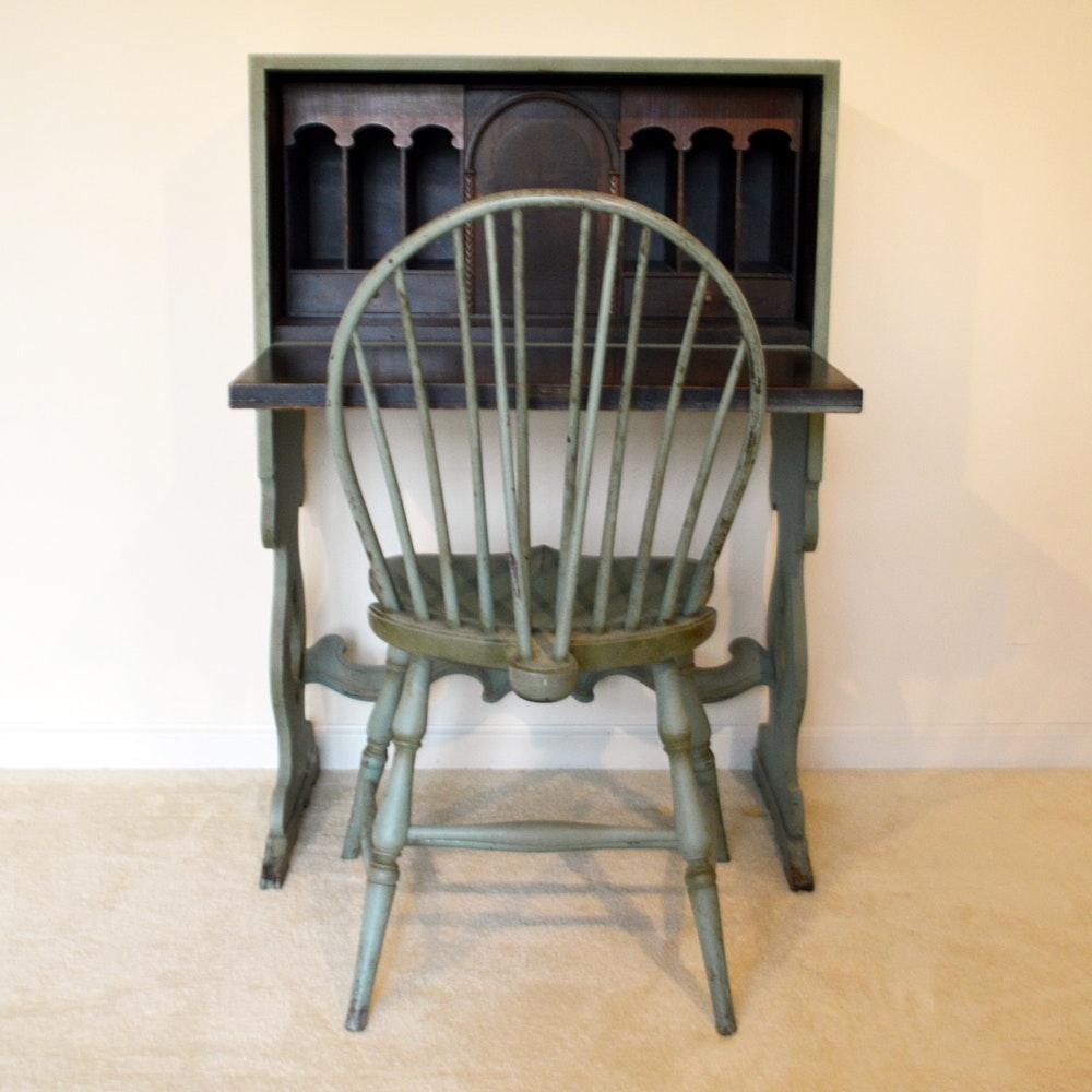 Vintage Mahogany Secretary Desk and Chair