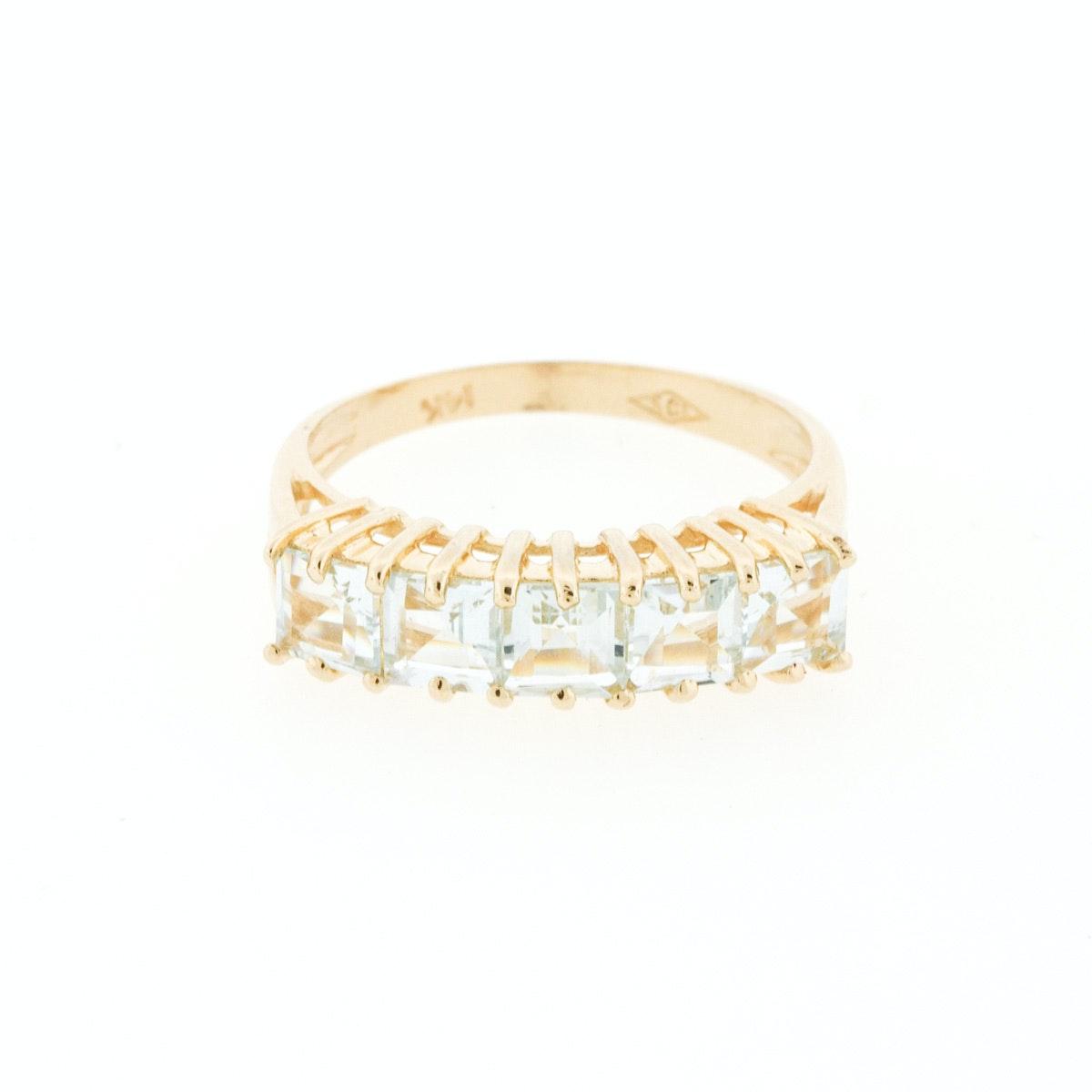 14K Yellow Gold Band with Five Princess Cut Aquamarine Stones