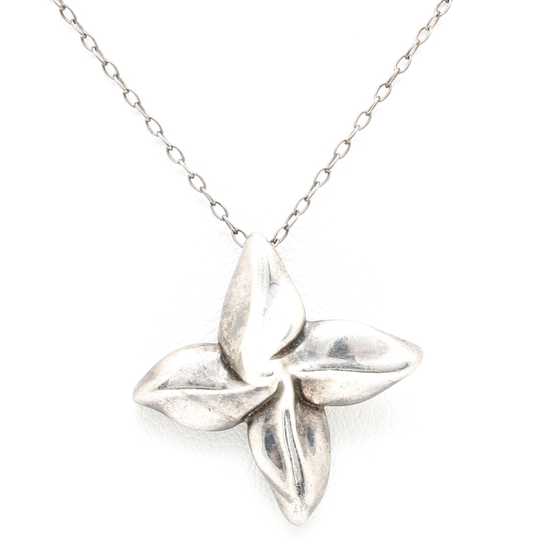 Tiffany & Co. Sterling Silver Floral Pendant Necklace