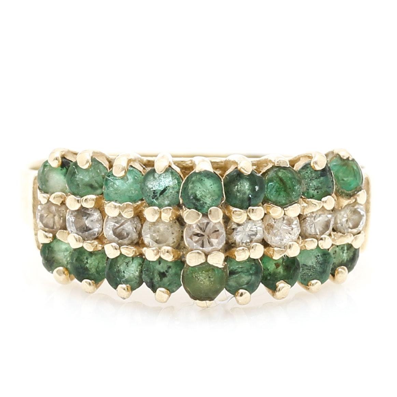 14K Yellow Gold Diamond and Emerald Ring