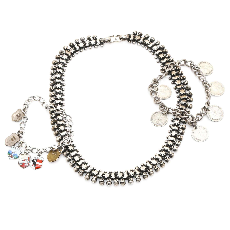Sterling Silver Necklace With Bracelets