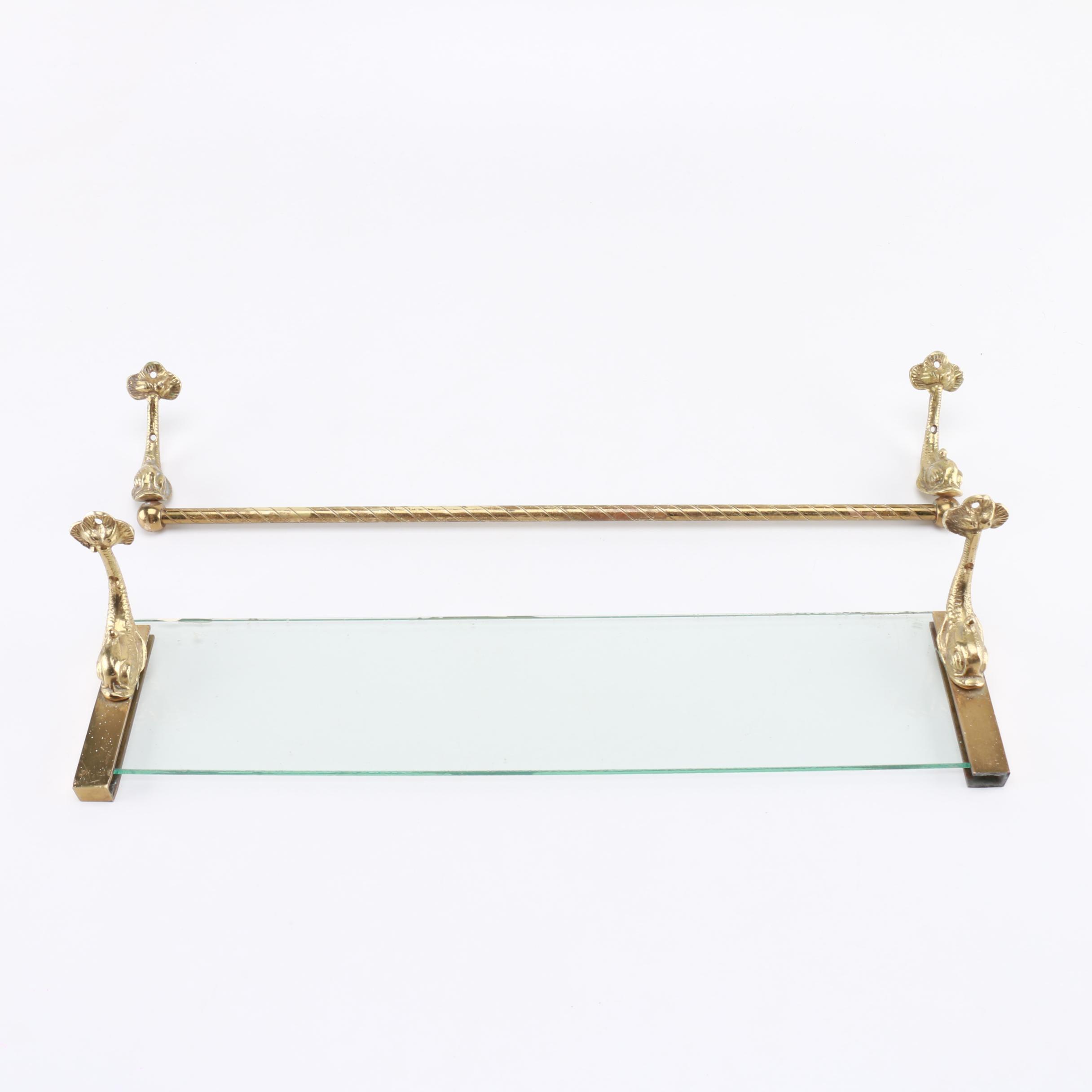 Brass Shelf And Towel Rack