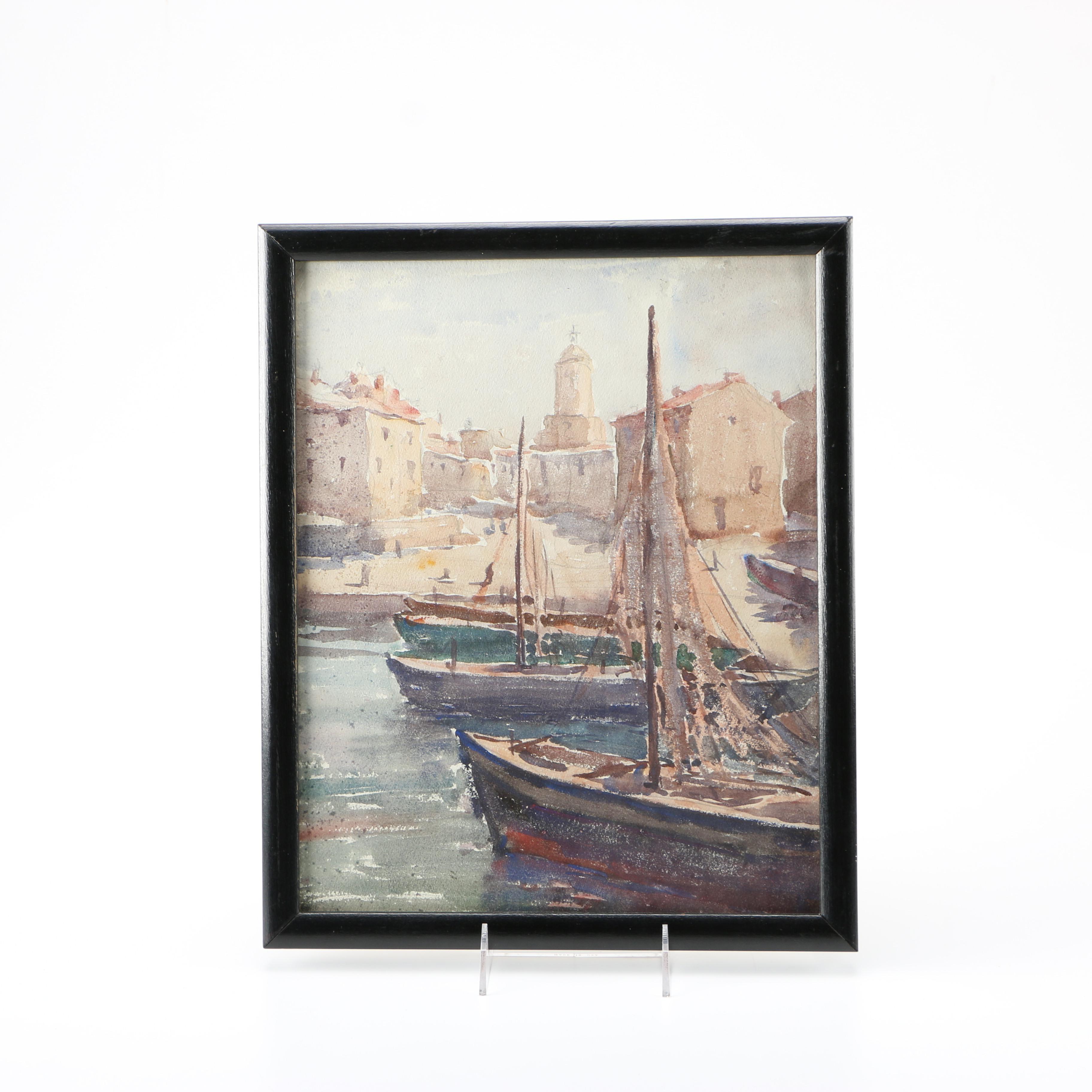 Raoul Monory Original Watercolor of Harbored Sailboats