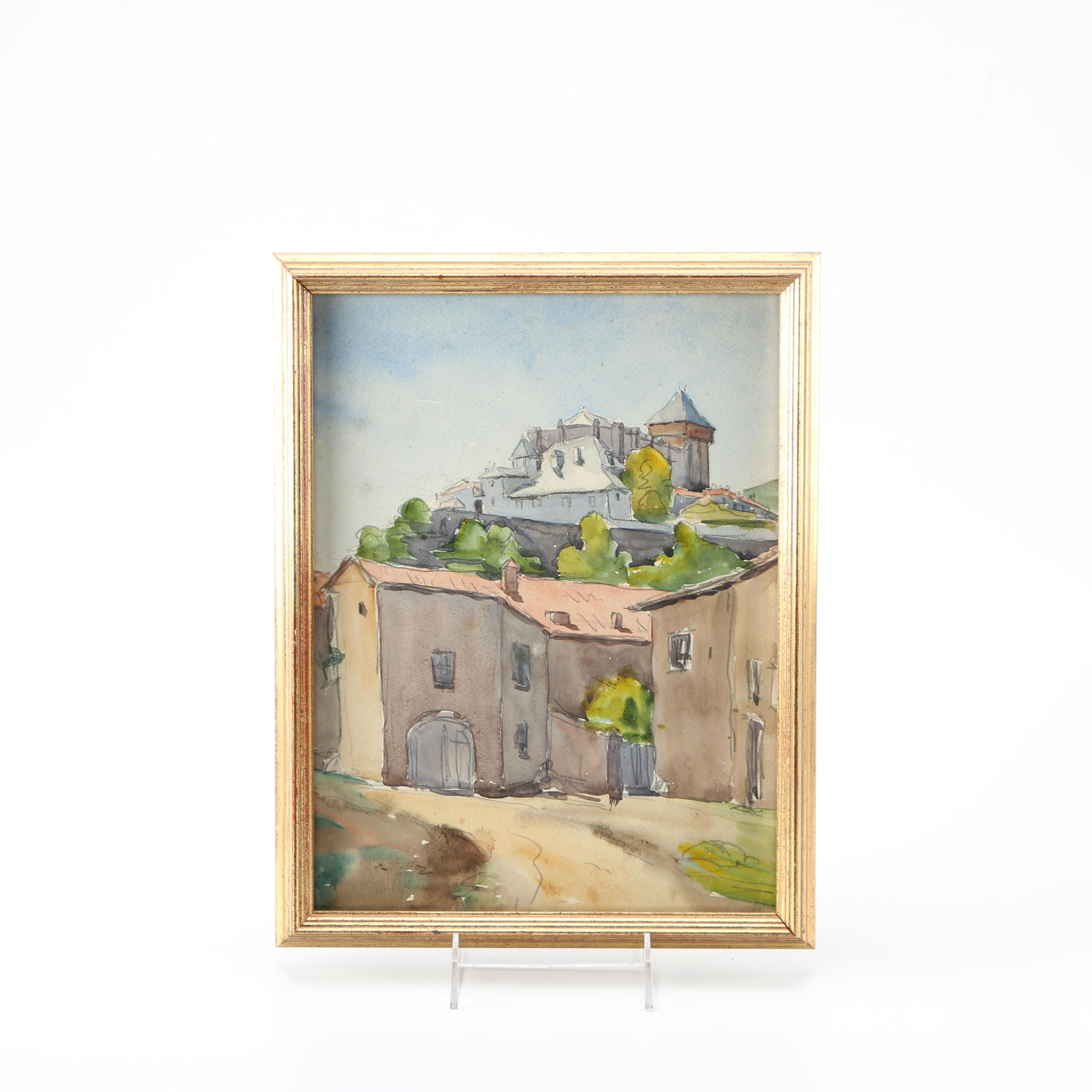 Raoul Monory Original Watercolor of French Landscape