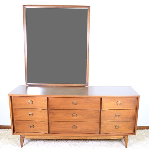 Mid Century Modern Dresser and Mirror by Johnson/Carper