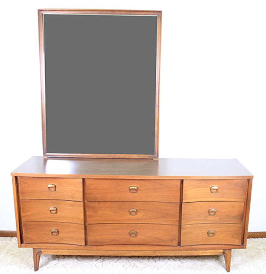 mid century modern dresser and mirror by johnson carper ebth. Black Bedroom Furniture Sets. Home Design Ideas