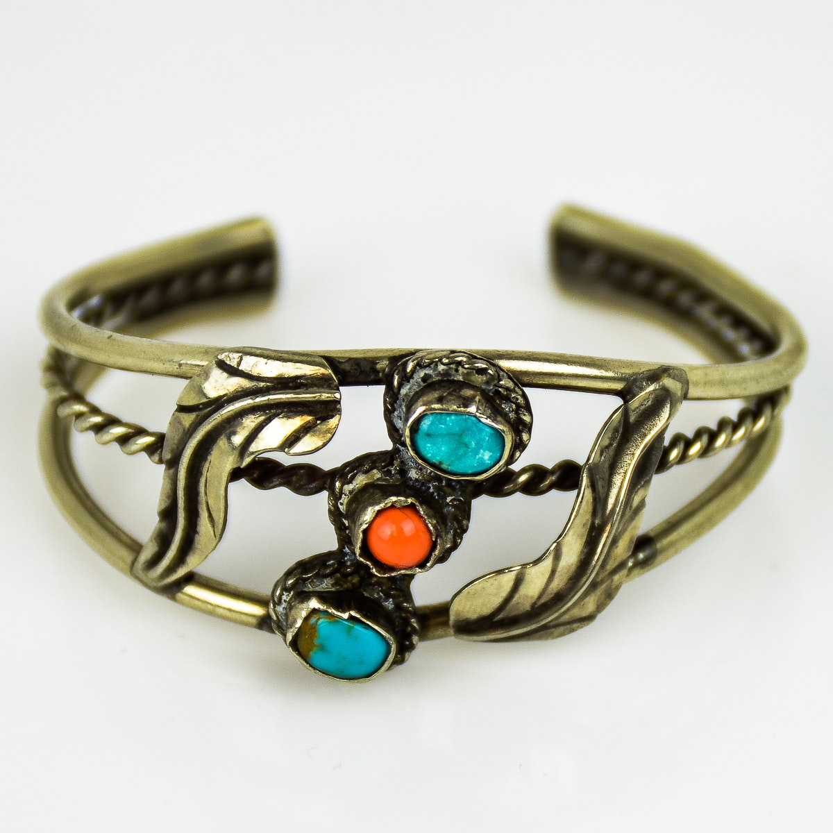 Native American Style Silver, Coral, and Turquoise Split Cuff