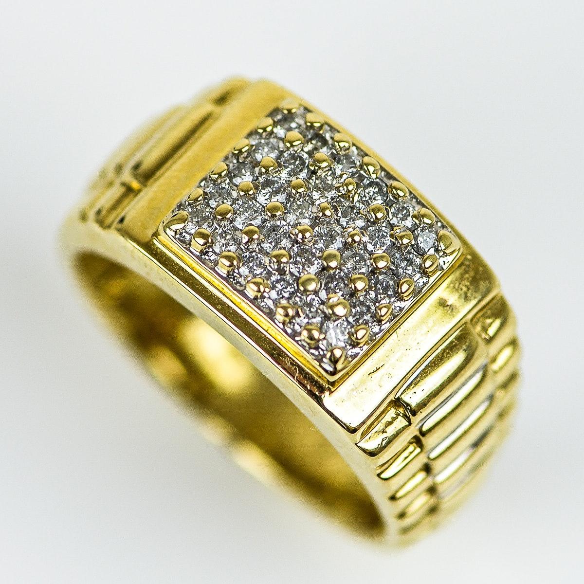 Men's 14K Yellow Gold and Diamond Flat Top Ring