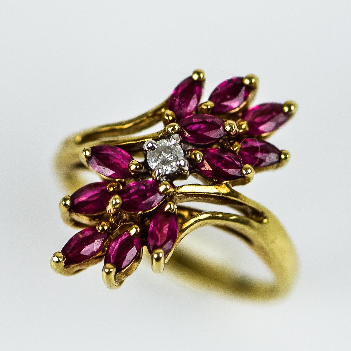 14K Yellow Gold, Synthetic Ruby, and Diamond Waterfall Ring