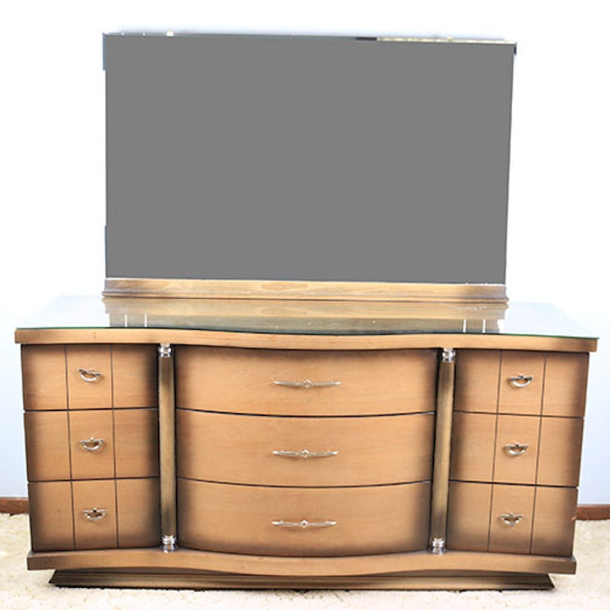 Mid-Century Dresser With Mirror By United Furniture Corp