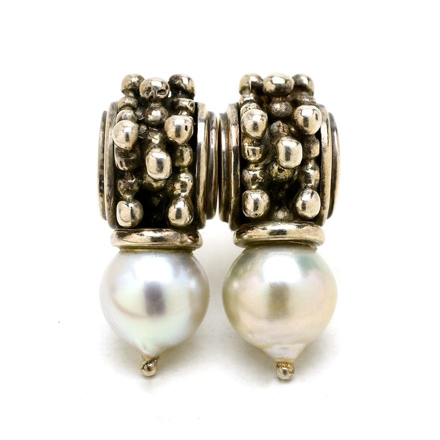 14k White Gold Cultured Pearl Earrings By Michael Dawkins