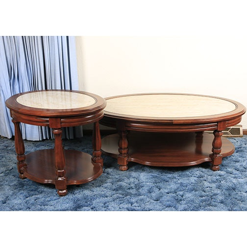 Marble Top Coffee Table and End Table