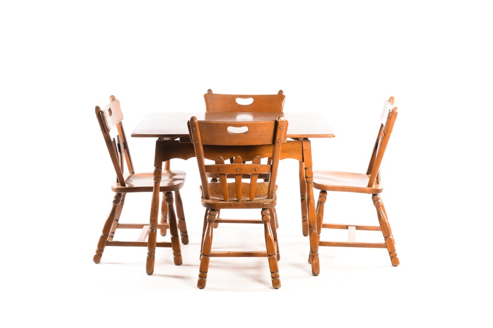 Maple Kitchen Table With Chair And Bench Ebth: Vintage Maple Table With Chairs By Willett Furniture : EBTH