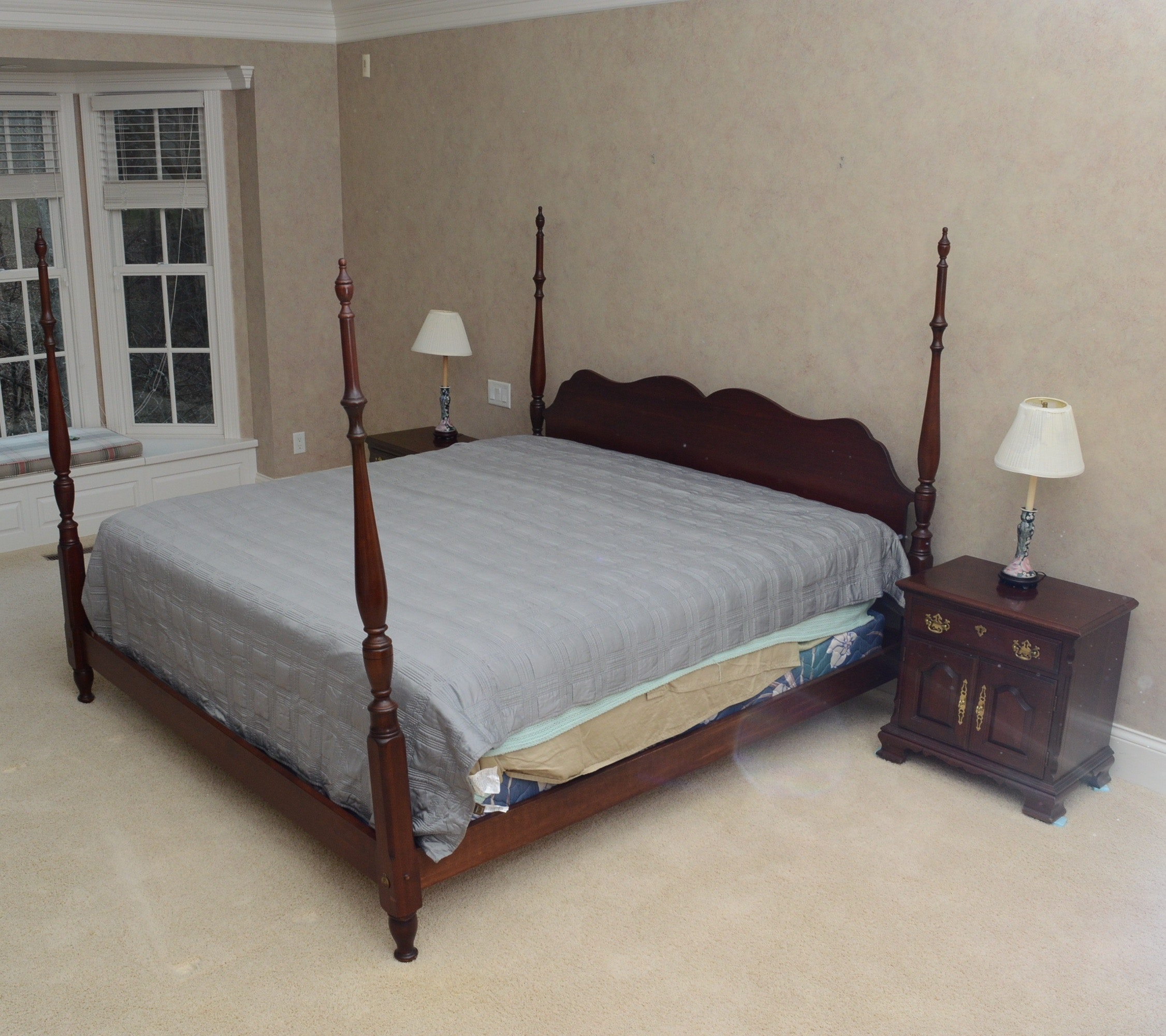 pennsylvania house cherry cannonball bed and nightstands : ebth