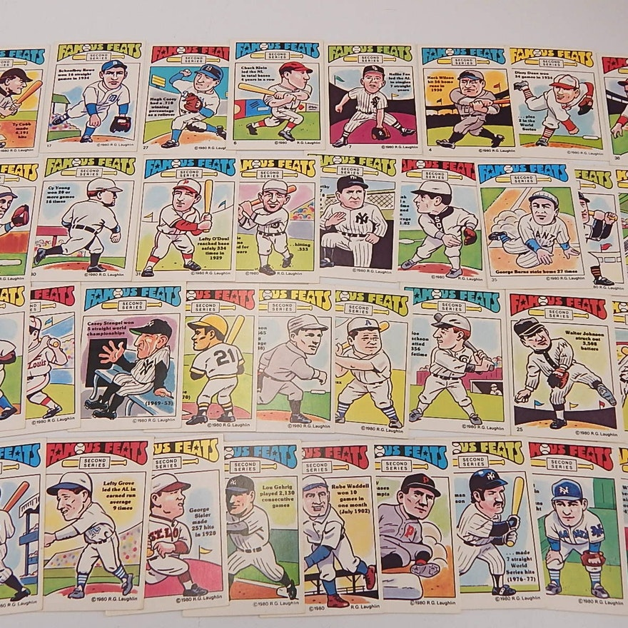 Thirty Five 1980 Rg Laughlin Famous Feats Baseball Cards