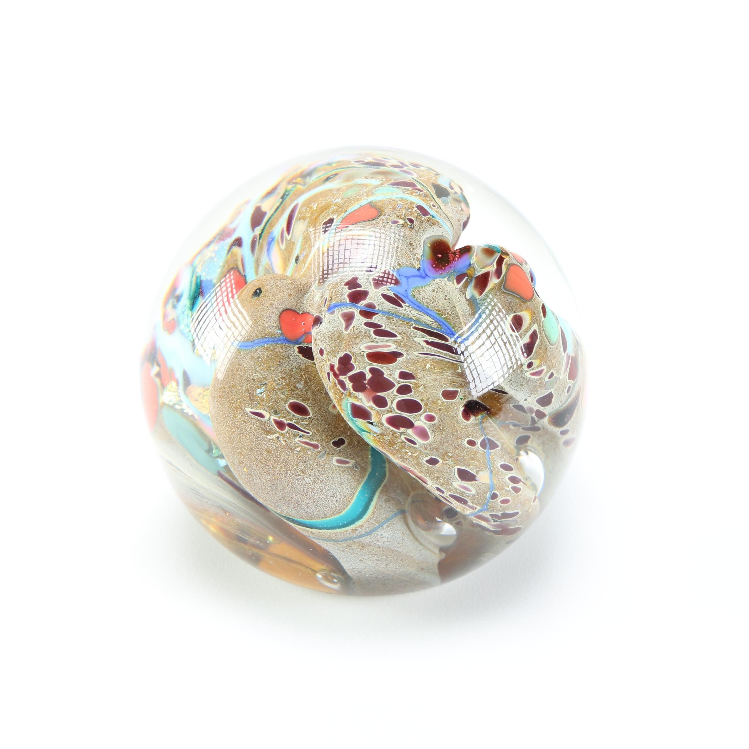Rollin Karg Signed Dichroic Glass Paperweight