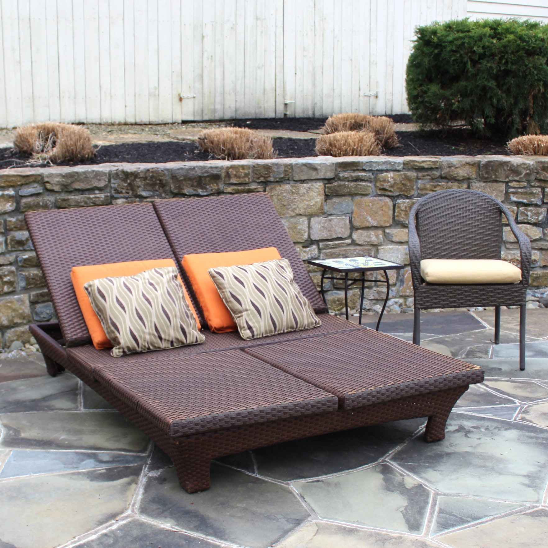 Outdoor Double Chaise, Frontgate Side Chair and Table