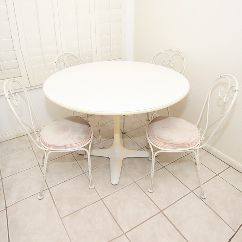 mid-century cafe table and chairs : ebth