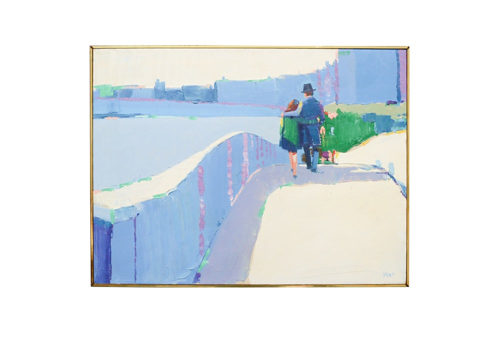 Signed Mid-Century Modern Oil on Canvas of Strolling Couple