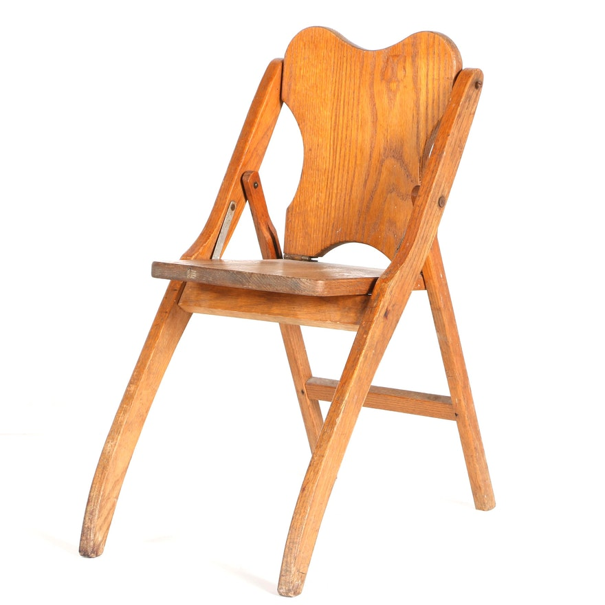 mid 20th century wooden folding chair ebth. Black Bedroom Furniture Sets. Home Design Ideas