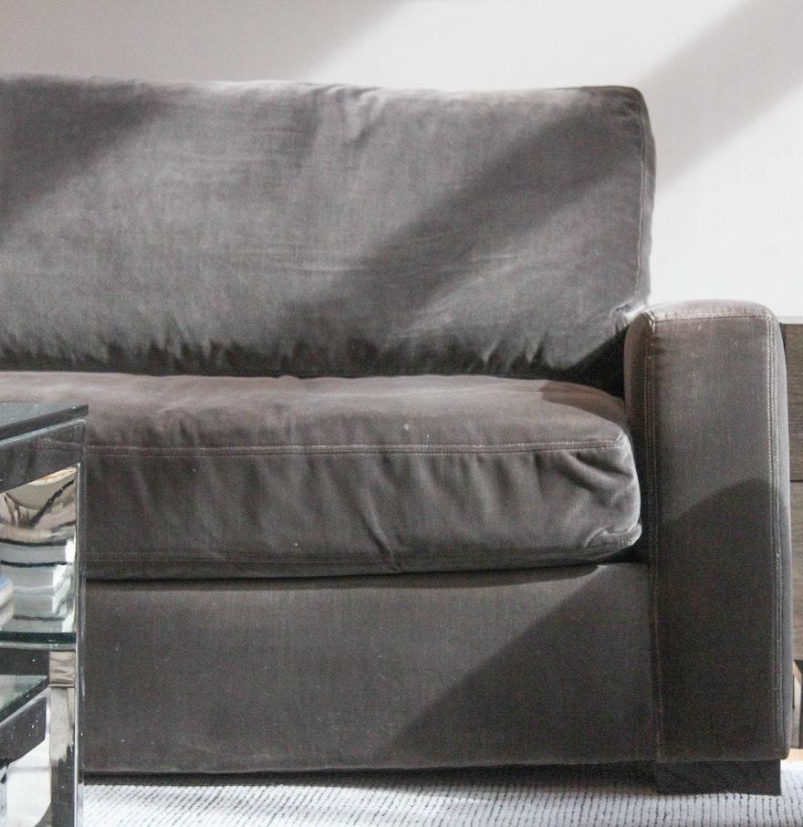 Restoration Hardware Maxwell Velvet Upholstered Sofa EBTH