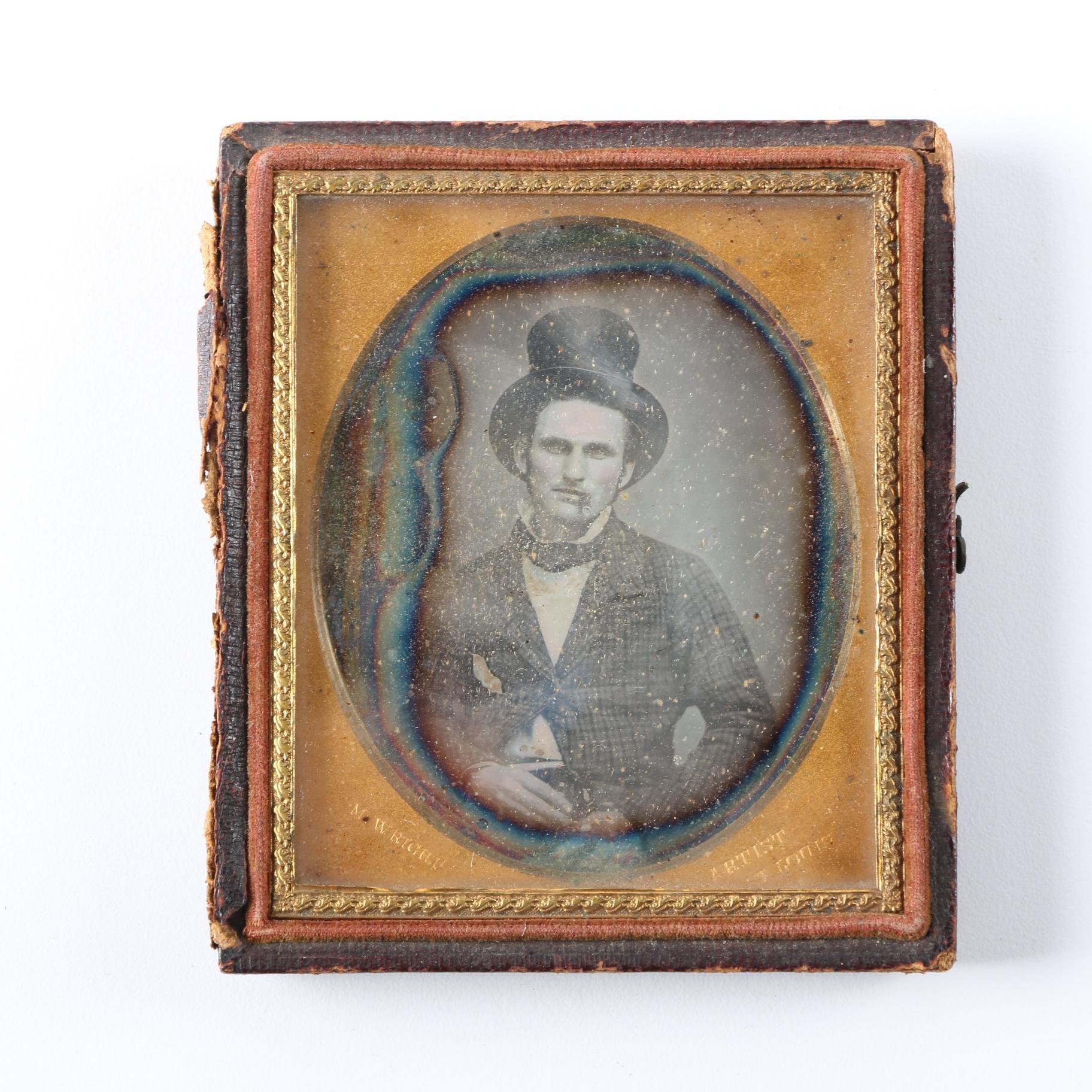 Nineteenth-Century Daguerreotype Portrait of Man in Top Hat